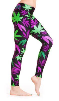 Purple and Green Leaf Print Leggings