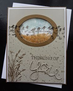 Wetlands Shaker Card. Sahara Sand, Whisper White & Soft Suede card stock. Early Espresso, Sahara Sand, Soft Suede & Pool Party ink. Wetlands, Gorgeous Grunge & Crazy About You stamp sets. Hello thinlits & Oval framelits dies. Misc: window sheet, dimensionals & sand. Beautiful Beach Day