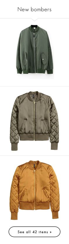 """""""New bombers"""" by kelly-m-o ❤ liked on Polyvore featuring outerwear, jackets, beautifulhalo, zipper jacket, zip jacket, long sleeve jacket, bomber, bomber jacket, h&m and brown bomber jacket"""