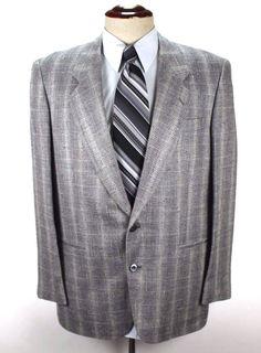 Giovanni Moda Per Uomo Blazer Sport Coat size 42R 100% Silk 2 Btn Plaid Ventless #GiovanniModaPerUomo #TwoButton