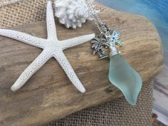 Sea Glass Shell Necklace dragonfly charm by SeasideJewelry1