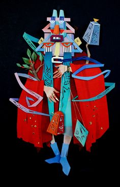 Click for more pics! Vibrant Mythical Scenes in Cut Paper Collage by Morgana Wallace #paperart