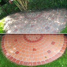 before and after moss and alga removal front yard Wooden Cabins, Roof Tiles, Paving Stones, Garden Fencing, Pavement, Car Parking, Natural Stones, Concrete, How To Remove