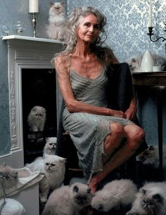Boho Lady with her cats
