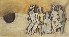 Untitled (Female Figures) by Indian artist Maqbool Fida Husain (1915-2011). Oil on canvas, 40.6 x 76.2 cm. via Christie's