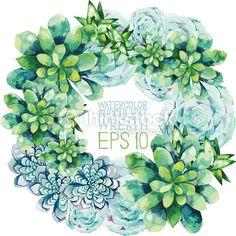 ベクトルアート : Watercolor succulent wreath