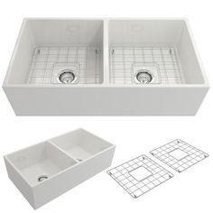 "BOCCHI Contempo 36"" Fireclay Farmhouse Apron 50/50 Double Bowl Kitchen Sink, White, 1350-001-0120 Showcase Image | The Sink Boutique"