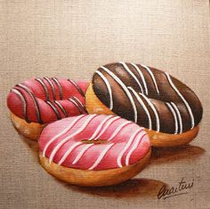 tableau donuts, peinture donuts, tableau gateau, donuts painting by Catherine Martini