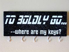 Star Trek inspired key holder To boldly go where by LetterThings Star Trek Books, Book Holders, Picture Hangers, Tissue Paper, Told You So, Let It Be, Outdoor Games, Stars, Words