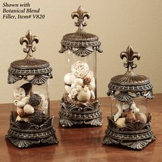 Fleur de Lis Jar Set Golden Bronze Set of Three