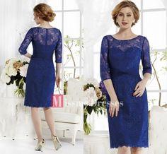 Vestido de noche Azul 2014 Encaje formal corto vestidos de fiesta vestidos de novia madre de