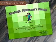 Official Minecraft Miner Certificate Printable by JenuineCards