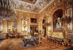 French Décor - The state council room at Herrenchiemsee Palace, King Lugwig II's imitation of Versailles in Bavaria.
