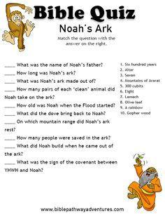 Printable bible quiz - Noah's Ark