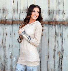 Plaid Accent Hoodie Tunic in Taupe