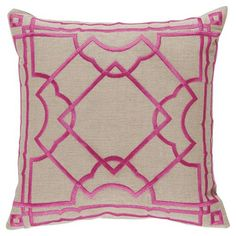 Cugat Modern Deco Fuchsia Embroidered Beige Pillow - 20x20 | Kathy Kuo Home