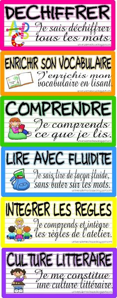 Daily 5 signs in French for CAFE L'univers de ma classe: Un affichage . Read In French, Learn French, French Teaching Resources, Teaching French, Teaching Language Arts, Classroom Language, Reading Strategies, Reading Comprehension, Daily 5 Reading