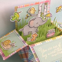 Card in a box lawn fawn elphie selfie gleeful garden bugs and kisses