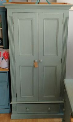 Annie Sloan Chalk Paint 2 Door Wardrobe Duck Egg Blue 2 Door Wardrobe, Painted Drawers, Duck Egg Blue, Annie Sloan Chalk Paint, Armoire, Kids Room, Doors, Painting, Furniture