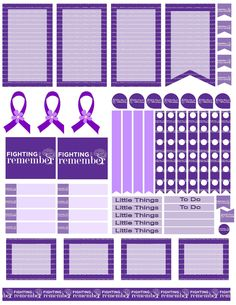 Alzheimer's awareness printable stickers. Free planner printable stickers, sized for the large happy planner (print at 85% for regular happy planner). Stickers are free, but if you like them I ask you donate to my Alzheimer's Memory Walk. Stickers are through my facebook group: https://www.facebook.com/groups/plannerstickersforacure/