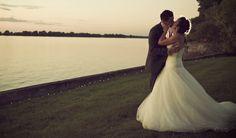 bride and groom, outdoor wedding, sunset, garden