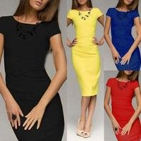 Wish | Ladies Sexy Fashion O Neck Bodycon Pencil Slim Business Solid Party Cocktail Dress