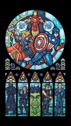 Church of Geekery: Reflecting Batman, Avengers in stained glass -You can find Batman and more on our website.Church of Geekery: Reflecting Batman, Avengers in stained glass - Thanos Avengers, The Avengers, Avengers Shield, Marvel Dc Comics, Marvel Heroes, Wallpaper Bonitos, Die Rächer, Images Star Wars, Stargate