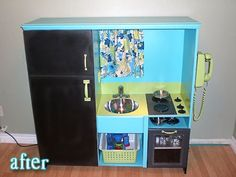 DIY Entertainment Center Turned Play Kitchen. I'm so doing this for Jaedynn - fun project!!!
