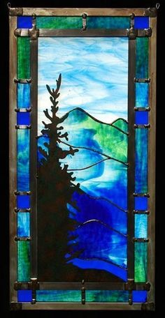 Mountain Stained Glass Designs, Stained Glass Panels, Leaded Glass, Stained Glass Patterns, Stained Glass Projects, Stained Glass Art, Mosaic Glass, Fused Glass, Tiffany