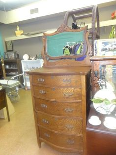 Antique Solid Oak Chest of Drawers Highboy Mirror