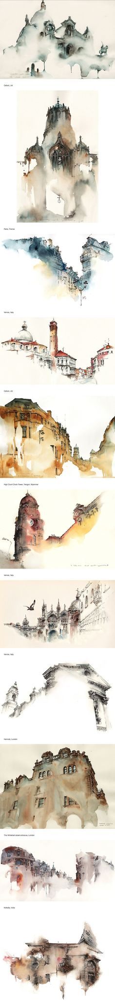Elusive Architecture in Watercolors of Korean Artist Sunga Park WOW NICE WORK. Elusive Architecture in Watercolors of Korean Artist Sunga Park Art Et Architecture, Watercolor Architecture, Watercolor Landscape, Illustration Art, Illustrations, Watercolor Paintings, Watercolors, Watercolor Sketch, Art Graphique