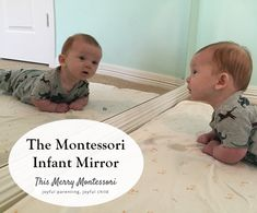 A low, wall-mounted mirror is a staple in a Montessori infant space. Time spent in front of the mirror allows the infant to further explore his environment by providing another viewing angle of his…