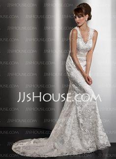 Vestidos de novia - $226.99 - Corte recto Escote en V Cola corte Charmeuse encaje Vestido de novia con Fajas (002013766) http://jjshouse.com/es/Corte-Recto-Escote-En-V-Cola-Corte-Charmeuse-Encaje-Vestido-De-Novia-Con-Fajas-002013766-g13766