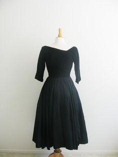 Vintage 1950's Asymmetrical Black Silk Dress