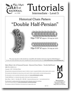Chain Tutorial  Double HalfPersian Pattern  PDF by dylonwhyte, $10.00 Now available as an individual instant digital download on #Etsy or as part of the AOC Masters Course. http://www.artofchainmail.com #Chain #Chainmail #Chainmail #Mail #Maille #Tutorial #DylonWhyte #PDF #Instruction #Jewelry #Jewelery #Jewellery #Armor #Armour #Double #Half #Persian #Pattern