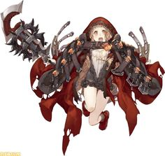 :o belt brown_hair cloak frills full_body holding holding_weapon hood jino little_red_riding_hood_(sinoalice) looking_at_viewer official_art open_mouth orange_eyes sinoalice solo weapon white_background Female Character Design, Character Design References, Character Design Inspiration, Character Concept, Character Art, Concept Art, Anime Fantasy, Fantasy Girl, Manga Characters