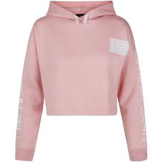 New Look Teens Pink Brooklyn Print Cropped Hoodie ($21) ❤ liked on Polyvore featuring tops, hoodies, crop top, pink, sweaters, pink top, cropped hoodies, hoodie crop top and pink hoodies
