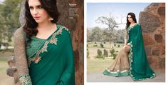 Green chiffon and georgette with embroidery work party wear saree
