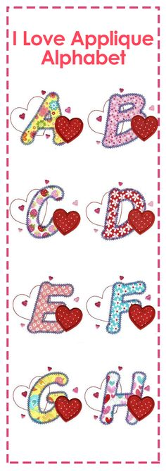 Simple heart applique alphabet perfect for Valentine's Day or any day! #DesignsbyJuJu