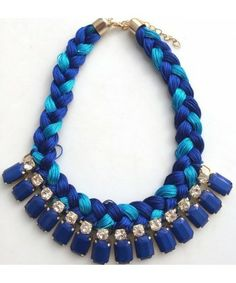 Fashion Woven Double Color Rope Multilayer Crystal Gem Exaggerate Pendant Necklace