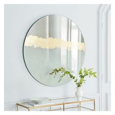 West Elm Gilded Vista Wall Mirror ($399) ❤ liked on Polyvore featuring home, home decor, mirrors, gilt mirror, west elm mirror, gold leaf mirror, metal mirror and vertical mirror