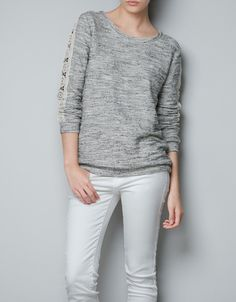 LACE SWEATER WITH SLEEVES - Knitwear - TRF - ZARA United States