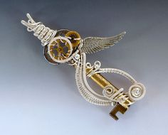 Steampunk Skeleton Key Necklace Angel Wing and by JewelryFusion, $65.00