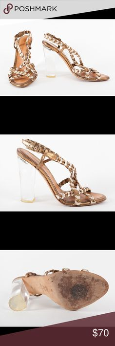 """BCBG Max Azria heeled sandals made in Italy 3""""-4"""" heels, gold and silver straps with see-through perspex heels. Gently worn, good condition. Small chips clear plastic where the plastic meets the sole, as shown in photos. Super cute for summer!🌻☀️🍍 BCBGMaxAzria Shoes Sandals"""