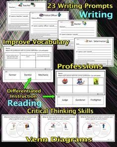 Writing and Reading Activities: writing prompts, Venn diagrams, learning about professions/jobs, matching definitions and professions, improving vocabulary, comparing & contrasting, using one's schemata, all in an interactive and engaging manner. This packet is aligned with Common Core ELA Standards. #education  #writing #reading #criticalthinking
