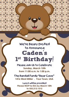 Teddy Bear Themed Boy's Birthday Invitation by LetterBeePaperie