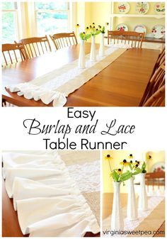 Make an easy burlap and lace table runner embellished with a sweet ruffle. This…