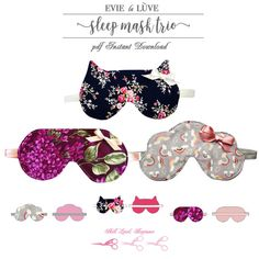 Please note this listing is for three PDF instant download sewing patterns and not ready made sleep masks. The Original, Kitty & Cloud Sleep Masks make beautiful bedtime accessories that are super easy to make & fun to wear. Get a rested nights sleep and the satisfaction of making your own with this pattern bundle of three styles of sleep mask. The pattern is designed for woven fabrics such as Silk, Satin, Georgette and Cotton. The pattern of course does come with detailed photo ins... Fabric Crafts, Sewing Crafts, Sewing Projects, Baby Sewing, Free Sewing, Fat Quarter Projects, Diy Y Manualidades, Sewing To Sell, Sleep Mask