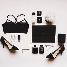 {at the shops : belgrave crescent} by {this is glamorous}, the essentials of a glamourous woman; classic black heels, CHANEL, planner, clutch, earrings, black nail polish, candle, perfume