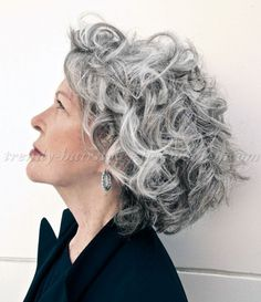 shoulder length hairstyles over 50 - curly hairstyle for grey hair